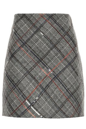 BRUNELLO CUCINELLI Sequin-embellished Prince of Wales checked wool mini skirt