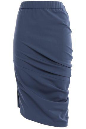 BRUNELLO CUCINELLI Asymmetric ruched stretch-wool skirt