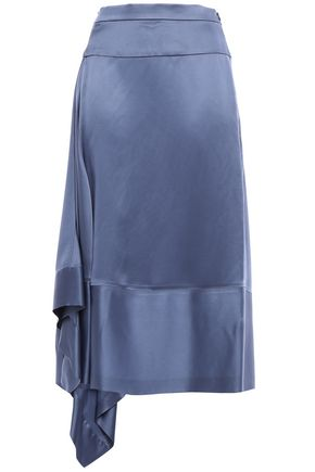 BRUNELLO CUCINELLI Asymmetric draped satin midi skirt