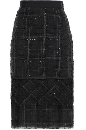 BRUNELLO CUCINELLI Sequined embroidered tulle midi skirt