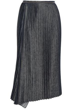 BRUNELLO CUCINELLI Bead-embellished pleated denim midi skirt