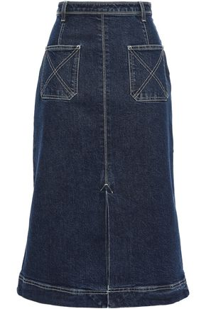 ALEXACHUNG Flared denim midi skirt