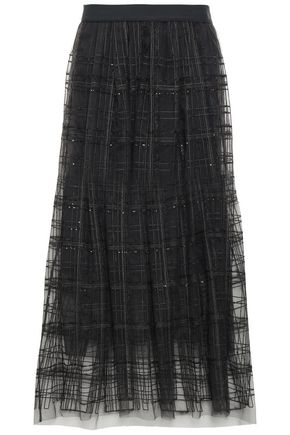BRUNELLO CUCINELLI Sequin-embellished embroidered tulle midi skirt