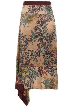 BRUNELLO CUCINELLI Asymmetric silk-satin midi skirt