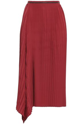 BRUNELLO CUCINELLI Bead-embellished pleated crepe de chine midi skirt