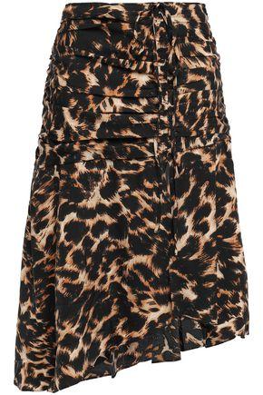 WALTER BAKER Lilah ruched leopard-print crepe skirt