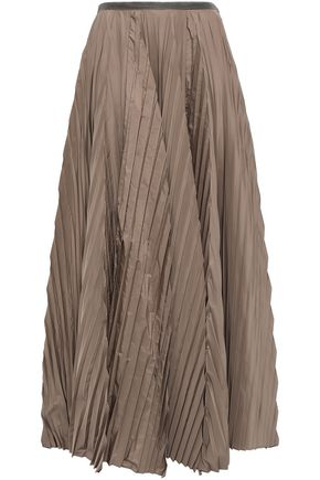 BRUNELLO CUCINELLI Pleated bead-embellished shell maxi skirt
