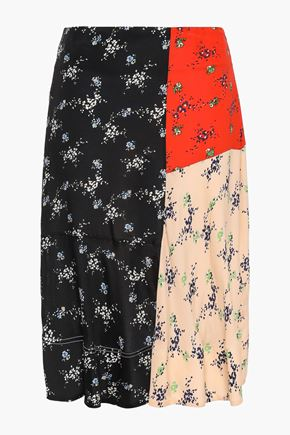 BY MALENE BIRGER Paneled crepe de chine skirt