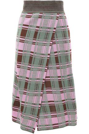 GOEN.J Wrap-effect checked jacquard-knit skirt