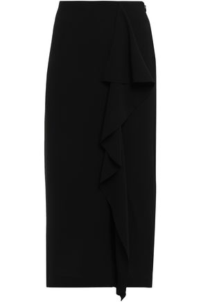 GOEN.J Split-front draped crepe midi skirt