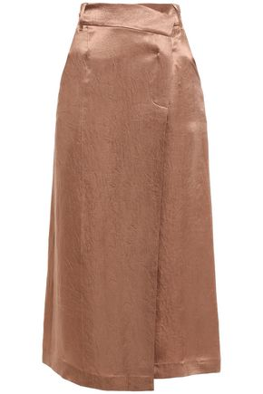 GOEN.J Crinkled-satin midi wrap skirt