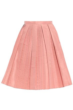REDValentino Flared pleated faille skirt
