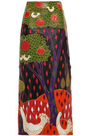 REDValentino Appliquéd embroidered maxi skirt