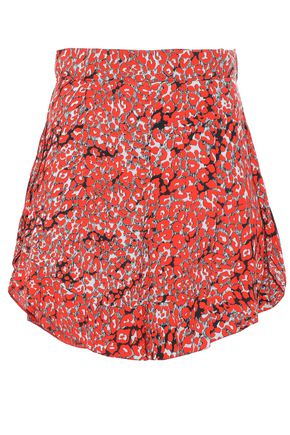 MAJE Ruffled crepe de chine shorts