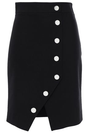 MAJE Button-embellished wrap-effect crepe mini skirt