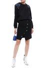 MAJE Button-embellished wrap-effect crepe mini skirt
