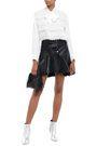 MAJE Ruffled leather mini skirt