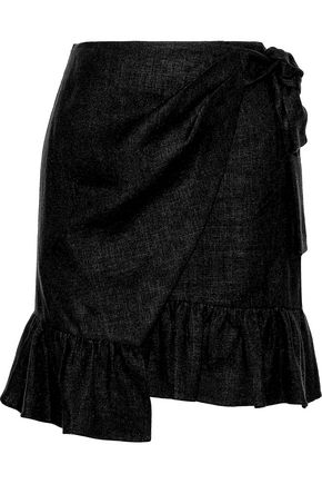 GOEN.J Asymmetric ruffled linen mini wrap skirt