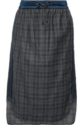 BRUNELLO CUCINELLI Bead-embellished satin-trimmed wool skirt