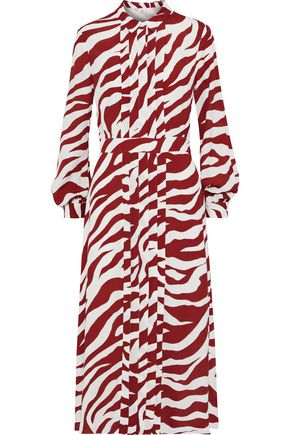 IRIS & INK Alva pintucked zebra-print crepe midi shirt dress