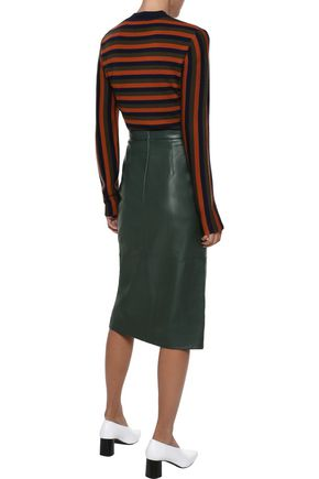 IRIS & INK Malena split-front leather pencil skirt