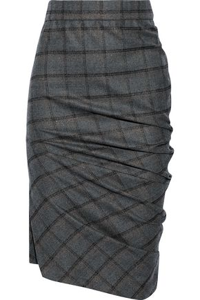 BRUNELLO CUCINELLI Asymmetric checked wool-blend pencil skirt