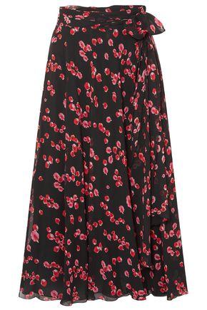 GIAMBATTISTA VALLI Belted floral-print silk-georgette midi skirt