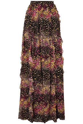 GIAMBATTISTA VALLI Ruffled floral-print silk-georgette maxi skirt