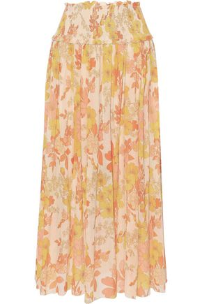 ZIMMERMANN Primrose Crinkle shirred floral-print cotton and silk-blend midi skirt