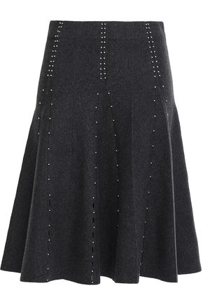 SANDRO Pleated lattice-trimmed studded stretch-knit skirt