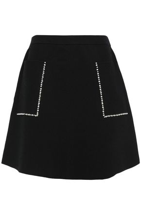 SANDRO Crystal and faux pearl-embellished stretch-ponte mini skirt