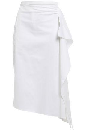 ROCHAS Draped cotton-blend twill skirt