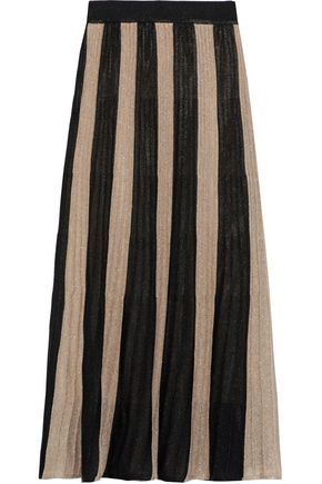 IRIS & INK Valka striped metallic ribbed-knit midi skirt