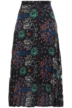 SANDRO Pleated jacquard midi skirt