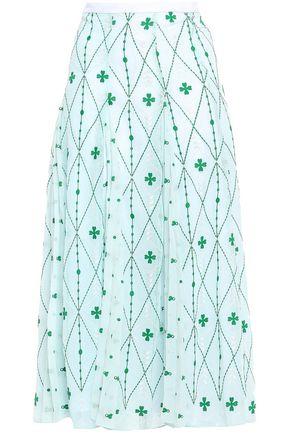 SANDRO Embroidered paneled georgette midi skirt