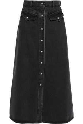NANUSHKA Flared denim midi skirt