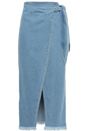 NANUSHKA Opal frayed denim midi wrap skirt