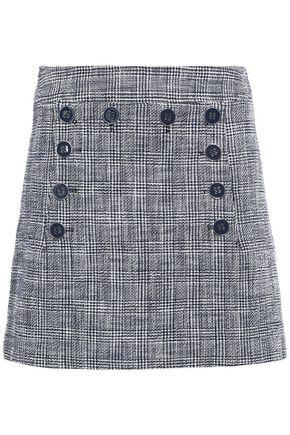 VERONICA BEARD Maida button-embellished cotton-blend bouclé-tweed mini skirt