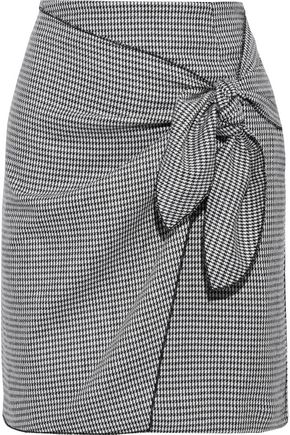 IRIS & INK Ryden wrap-effect houndstooth woven mini skirt