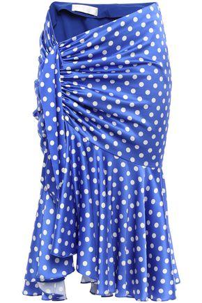 CAROLINE CONSTAS Liza knotted polka-dot silk-blend satin midi skirt