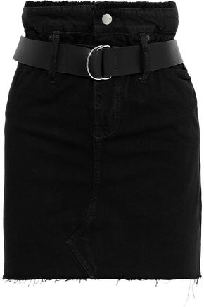 IRO Shearling-paneled distressed denim mini skirt