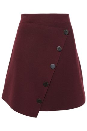 SANDRO Button-detailed wrap-effect stretch-ponte mini skirt