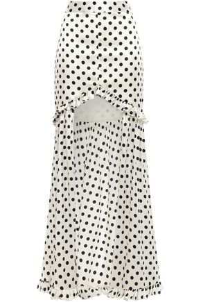 CAROLINE CONSTAS Ruffle-trimmed asymmetric silk-blend satin mini skirt