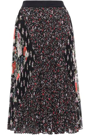 REBECCA TAYLOR Pleated floral-print georgette midi skirt