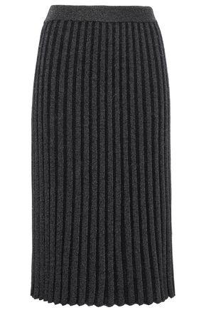 REBECCA TAYLOR Metallic ribbed-knit skirt