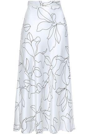 "EQUIPMENT تنورة متوسطة الطول ""إيفا"" من الحرير الباهت مطبعة بالورود"