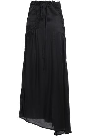 ANN DEMEULEMEESTER Asymmetric frayed shirred satin maxi skirt