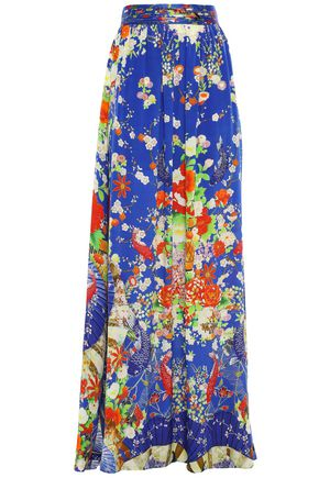 CAMILLA Crystal-embellished printed silk crepe de chine maxi skirt