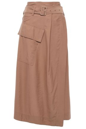 VINCE. Belted twill midi wrap skirt