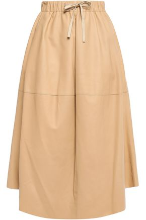 VINCE. Flared leather midi skirt